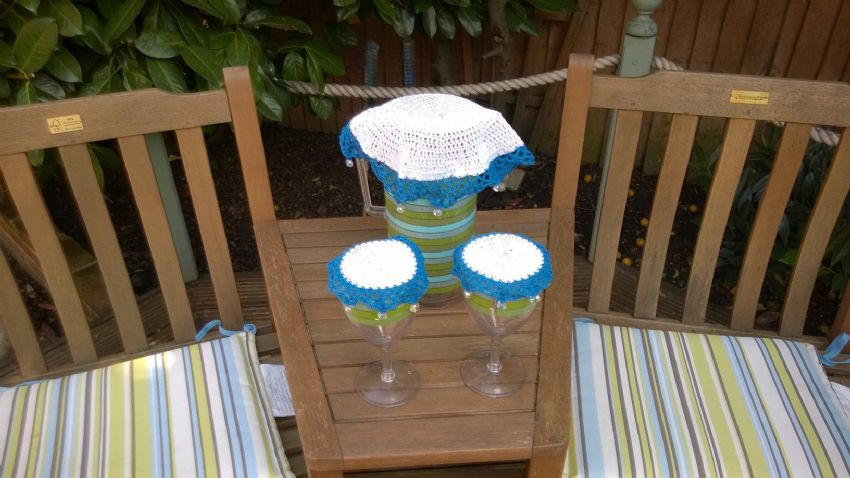 Wine glass, jug and bowl cover set